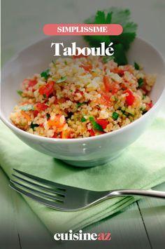 Le taboulé est une salade froide venue du Moyen-Orient à base de boulgour. #recette#cuisine#taboule#salade Bulgur Salad, Best Spa, Fried Rice, Fries, Good Things, Ethnic Recipes, Light Recipes, Chefs, Dinners