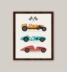 Racing Cars Transportation Nursery Art by giraffesnstuff Race Car Nursery, Transportation Nursery, Race Car Party, Race Cars, Kids Prints, Baby Prints, Car Illustration, Illustrations, Carros Retro