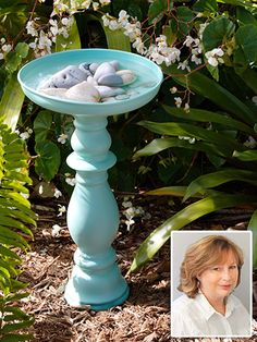 DIY bird bath ~ large Metal Pot Lid, Large Pillar Candle Pedestal ( will use Large White Vase.) Outdoor Spray Primer 'n Paint Garden Crafts, Garden Projects, Large Pillar Candles, Diy Bird Bath, Bird Bath Garden, Outdoor Projects, Outdoor Decor, Lawn And Garden, Garden Junk