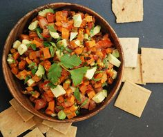 Sweet potatoe salsa, can't wait to try this! Sweet potatoes are packed with all kinds of valuable nutrients