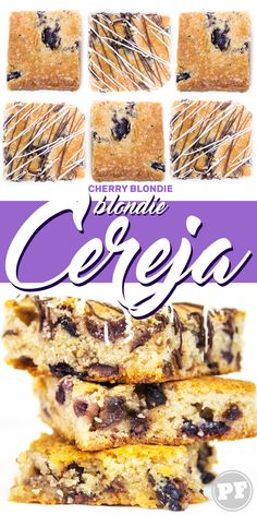 Blondie de cereja, uma versão do brownie sem chocolate e com cerejas frescas. #blondie #sobremesa #cerejafresca #receita #pratofundo | PratoFundo.com Cupcake Cakes, Cupcakes, Blondies, Cereal, Cherry, Breakfast, Food, Chocolate Cherry Cake, Sweet Pastries