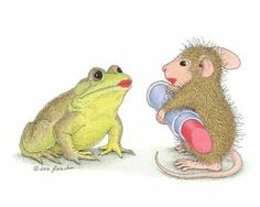 House Mouse putting lipstick on frog friend.