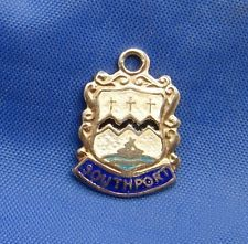 Vintage Sterling Silver Enamel Travel Shield Charm SOUTHPORT (England)