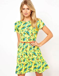Skater Dress In Bright Neon Floral