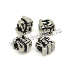 Metal beads, 925 sterling silver European bead in antique silver plating, Crown, Approx 10.2x7.5mm, Hole: Approx 4.6mm, 10 pieces per bag, Sold by bags