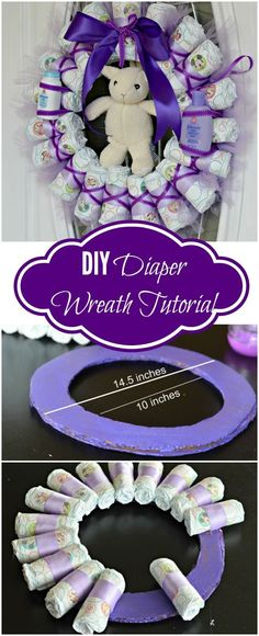 Tired of Diaper Cakes at Baby Showers? Check out this Diaper Wreath Tutorial! This article will show you step by step how to make it. #babygifts