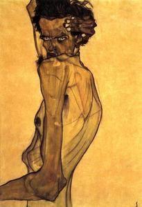 autorretrato con brazo `twisting` arriba cabeza - (Egon Schiele)