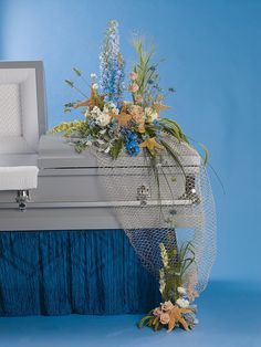 He loved the beach — Floral design by Tim Farrell AIFD, photography by Ron Derhacopian, reprinted with permission from Flowers& Magazine. Casket Flowers, Grave Flowers, Cemetery Flowers, Funeral Flowers, Funeral Floral Arrangements, Flower Arrangements, Funeral Sprays, Casket Sprays, Funeral Tributes