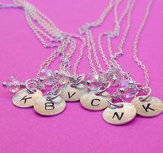 Bridesmaids Sterling Silver Initial Charm Necklace by SeaSaltShop, $18.00