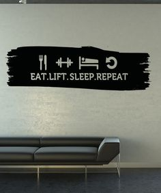 Vinyl Wall Decal Sticker Eat Sleep Life Repeat #5161 | Stickerbrand wall art decals, wall graphics and wall murals.