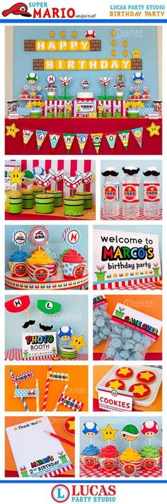 Super Mario Inspired Birthday Decorations – Personalised Printables – Mario cart party decorations, super mario party, birthday party – Famous Last Words Super Mario Party, Super Mario Bros, Super Mario Birthday, Mario Birthday Party, 1st Birthday Parties, Diy Birthday, Birthday Games, Birthday Ideas, Mario Nintendo