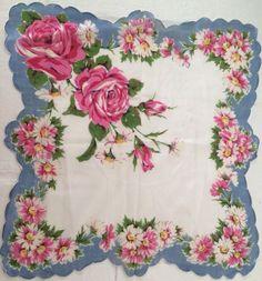 Vintage Ladies' Handkerchief - Pink Roses With Blue - Pretty!
