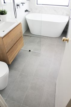 On the Ball Bathrooms are specialist in providing bathroom renovations to Perth. Perth Bathrooms renovations for over 20 years and are the waterproofing experts Grey Marble Bathroom, Grey Bathroom Floor, Wet Room Bathroom, Bathroom Floor Plans, Wood Bathroom, Grey Bathrooms, Bathroom Flooring, Bathroom Interior, Bathroom Feature Wall Tile