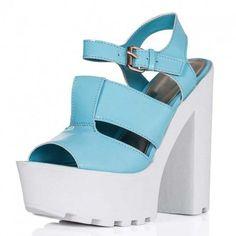 FIJI Block Heel Cleated Sole Platform Sandal Shoes Blue Pastel Patent ($40) ❤ liked on Polyvore featuring shoes, sandals, heels, block-heel shoes, blue platform shoes, patent leather shoes, platform shoes and heeled sandals