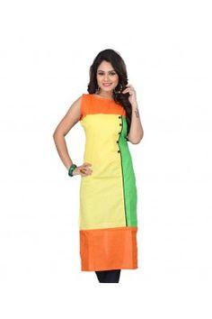 Multicoloured Printed Rayon Sleeveless Kurti