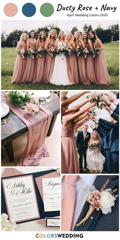 8 Perfect April Wedding Color Combos for 2020 Dusty Rose + Navy Wedding: dusty rose bridesmaid dresses, navy blue groomsmen suit, wedding table runner, wedding invitations. Dusty Rose Bridesmaid Dresses, Dusty Rose Wedding, Bridesmaid Dress Colors, Wedding Bridesmaids, Affordable Bridesmaid Dresses, Perfect Wedding, Dream Wedding, Wedding Day, Wedding Table