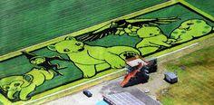Os produtores de arroz da pequena Inakadate, cidade da província de Aomori, são verdadeiros artistas quando se trata de formar suas lavouras. Utilizando plantas de diferentes tons de verde, branco, amarelo, preto e vinho, posicionando o plantio de acordo com desenhos previamente elaborados e mapeado