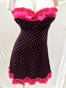 b922cba6d5 Details about Victoria s Secret SEXY LITTLE THINGS Polka Dot Babydoll  Chemise w  Ruffles 36C
