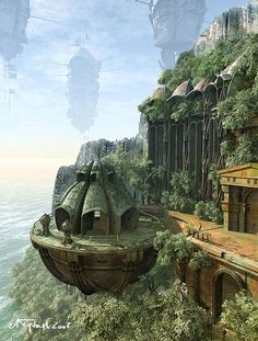 Could be one of my cities.  It has a port/dock, and there are floating islands in the background.  Arella by ~tredowski on deviantART
