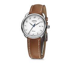 Arceau Uhr aus Edelstahl, 32 mm Durchmesser, weißes Zifferblatt, Automatikwerk…
