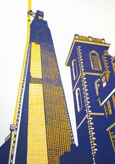 Jennifer Jokhoo - Shard & Old St Thomas Art Alevel, Shirt Print Design, Building Art, A Level Art, Art Courses, St Thomas, Elements Of Art, Environmental Art, Urban Landscape