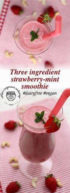 Nóri's ingenious cooking: #Strawberry -mint #smoothie ( #dairyfree, #vegan)