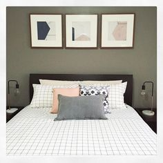 """What a lovely room to wake up to every morning. @lisaparker84 has created this room featuring Kmart #marble / #copper lamps, Trent grid cover set and kmart hack by cutting up a canvas and framing the pieces"