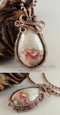 Crazy Lace Agate in Copper Wire