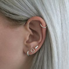 Silver earrings - silver hair - earparty