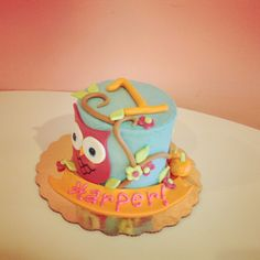 1st Birthday Owl Cake  by 2tarts Bakery   New Braunfels, TX  www.2tarts.com
