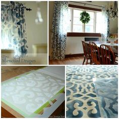 Rita Joy of Harbour Breeze Home stenciled her own custom drapes with our Chez Sheik Stencil!