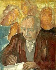 """Paul Claudel par Jean Bernard,""""je fais à l'art du peintre l'honneur de croire qu'il a une autre fin que de produire un bouquet de tons agréable au regard. Comme tous les autres arts, il existe pour être à l'âme un agent d'expression. Et d'ai lleurs il n'est pas sûr que le meilleur chemin pour atteindre la beauté soit de la rechercher."""" sic Claudel"""