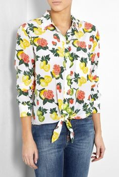 Bright White Citrus Print Daddy Tie Front Silk Shirt by Equi