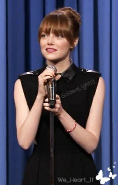 Emma Stone at the lip sync battle with Jimmy Fallon.