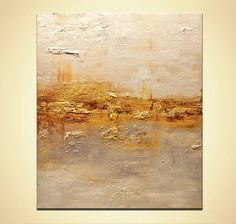 Modern Textured Acrylic Abstract Painting Gold by OsnatFineArt