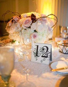 also love the look of these low centerpieces (minus the branches hanging out)    Rose and Hydrangea Centerpiece