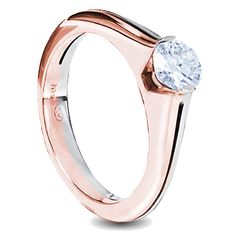 18ct white and rose gold round brilliant cut diamond solitaire ladies engagement ring tension set