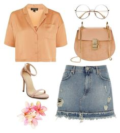 """""""🌹"""" by martsola ❤ liked on Polyvore featuring Topshop, Chloé, River Island and orange"""
