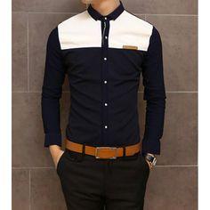 Slimming Shirt Collar Trendy Color Block Splicing Labeling Long Sleeve Men's Cotton Shirt, NAVY, M in Shirts | DressLily.com