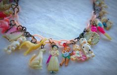 Vintage 40s Celluloid Cracker Jack, Gumball Prize, Premium Charms on Pink Celluloid Chain Necklace