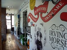 The first Kiehl's Spa, 64th & Lex, NYC. Graphic wall treatment in the long, narrow space.