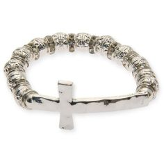 Kim Rogers  Silver-Tone Cross With Crystals Stretch Bracelet ($11) ❤ liked on Polyvore featuring jewelry, bracelets, silver, stretch jewelry, crucifix jewelry, cross jewelry, silvertone jewelry and sideways cross jewelry