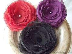 Wedding Hair Flower  Cosmopolitan Chic Trio   RainwaterStudios   $38.00