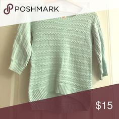 Light bluish green sweater hi-low 3/4 sleeve Mossimo Supply Co Sweaters