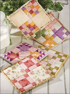 Creative Cook Quilt Pattern Download from e-PatternsCentral.com -- Berry pinks and reds add a splash of color in this mouthwatering collection of five easy-to-piece pot holders.