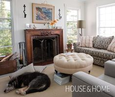 Shabby Chic Living Room In a cottage without curtains, it's all about nature. Drue, a terrier mix, curls up in the living room, where an antique hand-carved fireplace mantel from Lyon, France, and a painting by René Richard take pride of place.