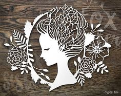 SVG / PDF Papercut Template Forest Nymph / Face profile - You are purchasing COMMERCIAL+personal USE of this design. - This design is for hand and machine cutting as it includes both SVG and PDF files. This item is a digital file, please note, no physical item will be send. - After