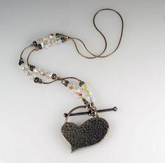 Retired Silpada Sterling Silver Heart Aurora Borealis Bead Toggle Necklace #Silpada #Pendant #Heart