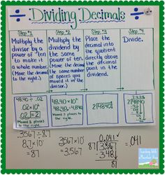 Anchor chart idea for dividing with decimal in dividend. 4 step method doesn't match our 3 step approach, but good idea. Math 5, Guided Math, Math Teacher, Math Classroom, Fun Math, Classroom Ideas, Math Help, Teacher Binder, Guided Reading