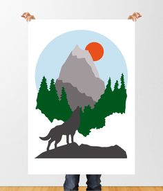 Abstract Mountain Print, Howling Wolf Forest Illustration, Modern Abstract Art, Minimalist, Mid Century Modern, Printable Wall Decor, by tothewoodside on Etsy